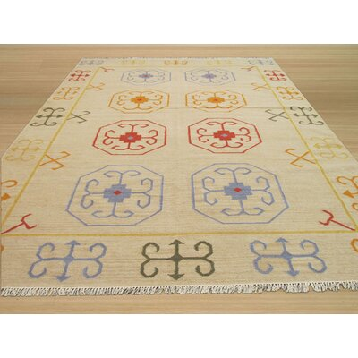 Dreshertown Hand-Woven Wool Beige Area Rug Rug Size: Rectangle 56 x 8