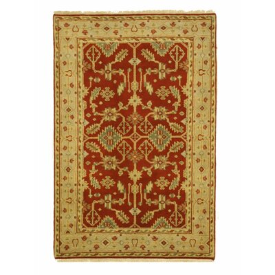 Hand-Knotted Red/Beige Area Rug