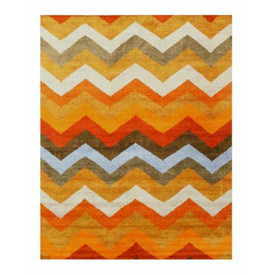 Chevron Hand-Knotted Orange Area Rug Rug Size: 10 x 14