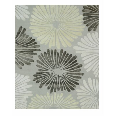 Sunflower Hand-Tufted Gray Area Rug Rug Size: 5 x 8