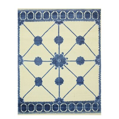 Lattice Hand-Knotted Beige/Blue Area Rug Rug Size: 5 x 8