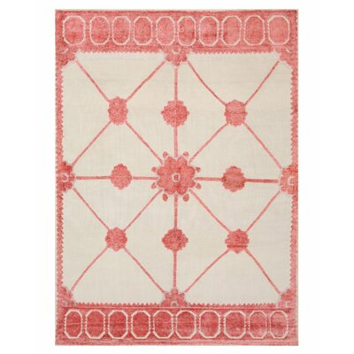 Lattice Hand-Knotted Pink/Beige Area Rug Rug Size: 6 x 9