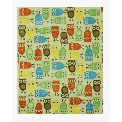 Hand-Tufted Beige/Blue/Green Kids Area Rug Rug Size: 79 x 99