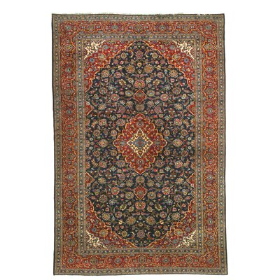 Kashan Hand-Knotted Blue/Red Area Rug