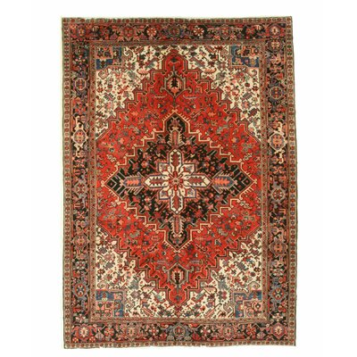 Heriz Hand-Knotted Red/Blue/Beige Area Rug