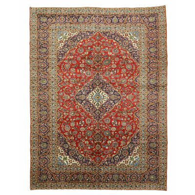 Kashan Hand-Knotted Red/Blue/Brown Area Rug