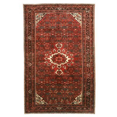 Hosseinabad Hand-Knotted Red/Beige Area Rug