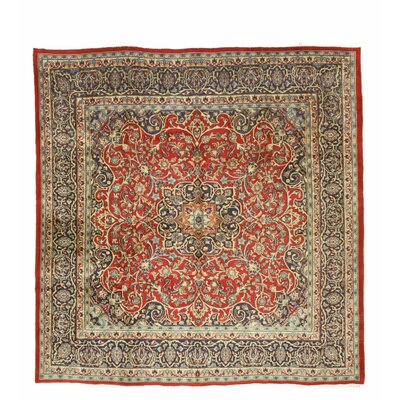 Mashad Hand-Knotted Red/Blue Area Rug