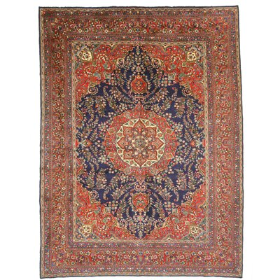 Mashad Hand-Knotted Blue/Red Area Rug