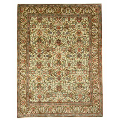 Tabriz Hand-Knotted Beige/Orange Area Rug