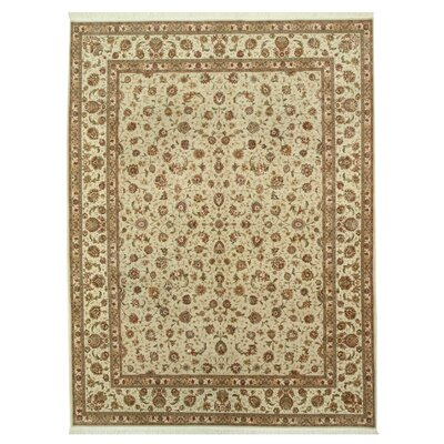 Tabriz Hand-Knotted Beige Area Rug