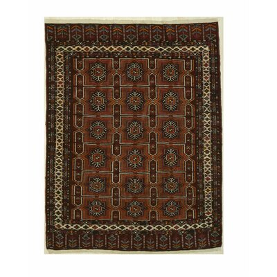 Turkman-Ankhoi Hand-Knotted Red Area Rug