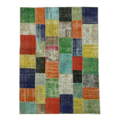 Turkish Hand-Knotted Green/Orange Area Rug