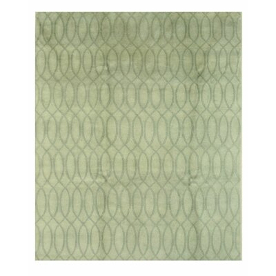 Indo-Nepalese Hand-Knotted Green Area Rug