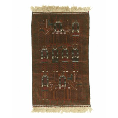Baluchi Hand-Knotted Brown Area Rug