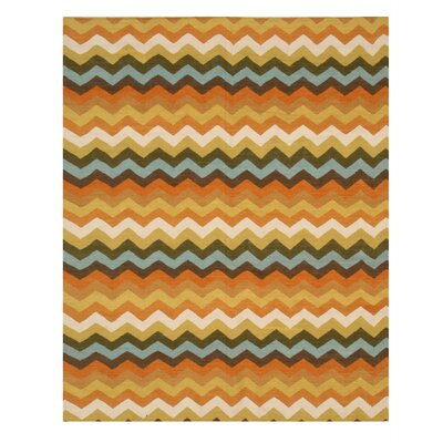 Handmade Orange/Brown Area Rug Rug Size: 10 x 14