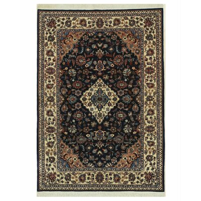 Tabriz Hand-Knotted Navy/Beige Area Rug