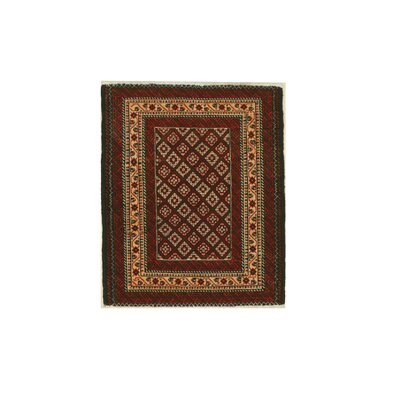 Baluchi Hand-Knotted Rust Area Rug Rug Size: 24 x 29