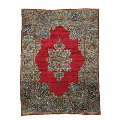 Kerman Hand-Knotted Red/Blue Area Rug