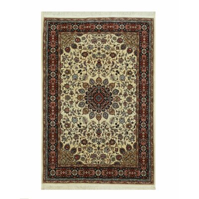 Tabriz Hand-Knotted Ivory/Red Area Rug