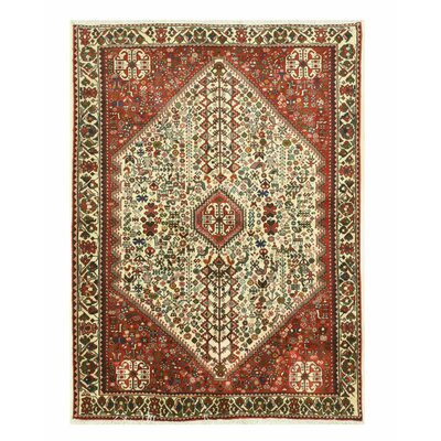 Abadeh Hand-Knotted Ivory/Red Wool Area Rug