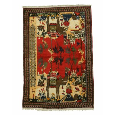 Camel-Afshar Hand-Knotted Red Area Rug
