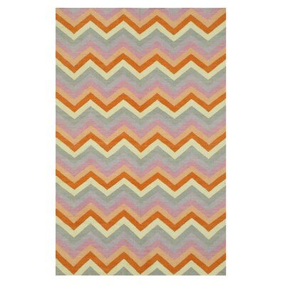 Handmade Orange/Gray Area Rug Rug Size: 5 x 8