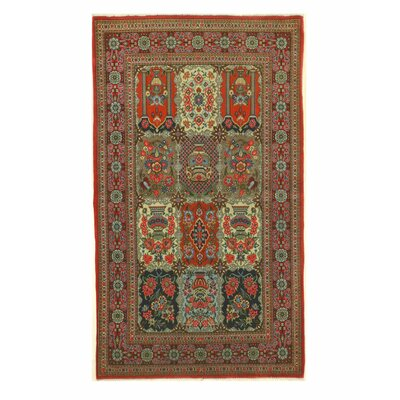 Qum Hand-Knotted Navy/Red Area Rug
