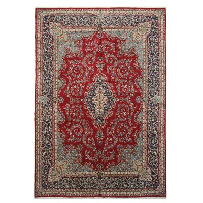 Kerman Hand-Knotted Red/Navy Area Rug