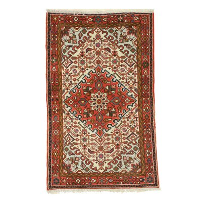 Hamadan Hand-Knotted Red/Ivory Area Rug