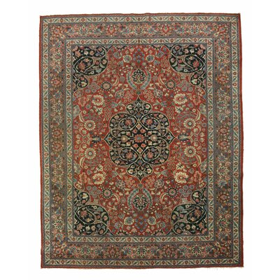 Tabriz Hand-Knotted Rust/Gray Area Rug