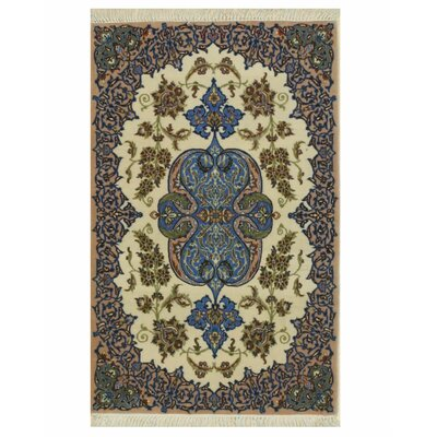 Isfahan Hand-Knotted Ivory/Blue Area Rug