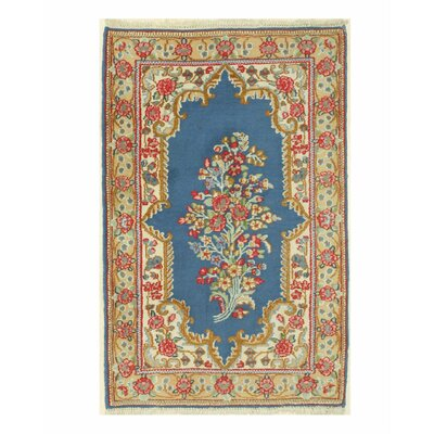 Kerman Hand-Knotted Blue/Beige Area Rug