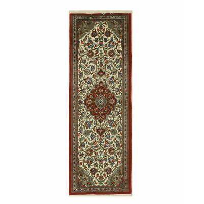 Qum Hand-Knotted Ivory/Red Area Rug