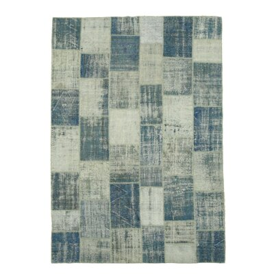 Turkish Hand-Knotted Blue/Gray Area Rug