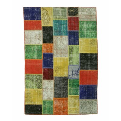Turkish Hand-Knotted Green/Orange Area Rug Size: Rectangle 7 x 10