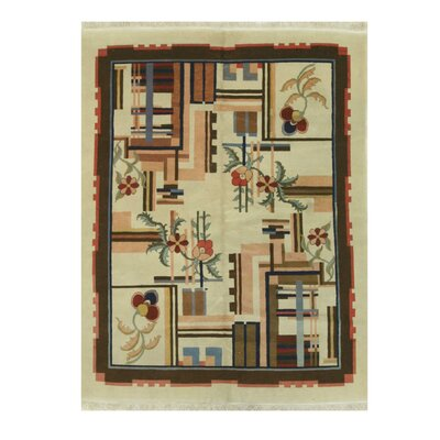 Hand-Knotted Ivory/Brown Area Rug Rug Size: 63 x 82