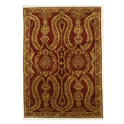 Indo-Nepal Hand-Knotted Red Area Rug
