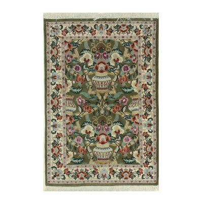 Vase Hand-Knotted Green/Beige Area Rug