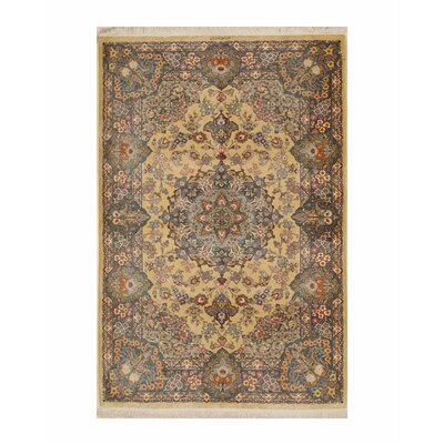 Qum Hand-Knotted Gold/Blue Area Rug