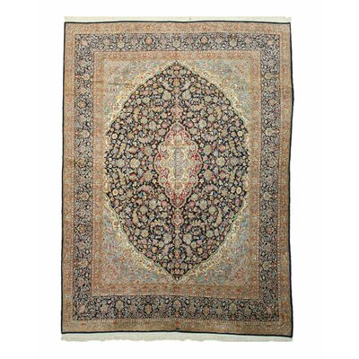 Kerman Hand-Knotted Navy/Brown Area Rug
