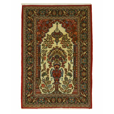 Qum Hand-Knotted Red/Ivory Area Rug