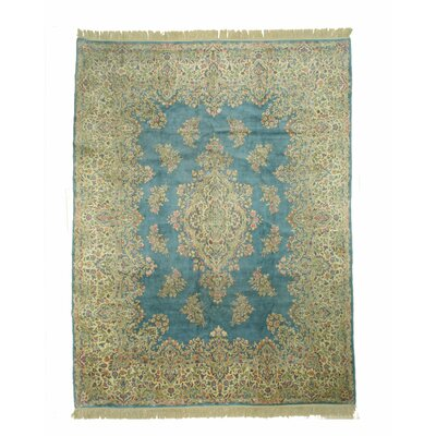 Kerman Hand-Knotted Beige/Blue Area Rug