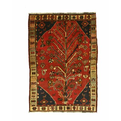 Shiraz Hand-Knotted Red/Beige Area Rug