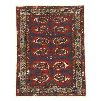 Hamadan Hand-Knotted Red/Navy Area Rug