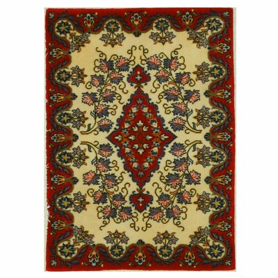 Kashan Hand-Knotted Red/Ivory Area Rug