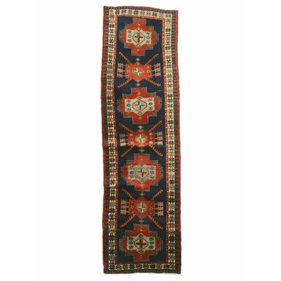 Hamadan Hand-Knotted Red/Blue Area Rug
