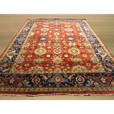 Super Mahal Hand-Knotted Red Area Rug Rug Size: 3 x 5