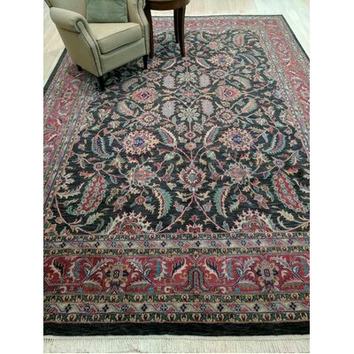 Kashan Hand-Knotted Black Area Rug