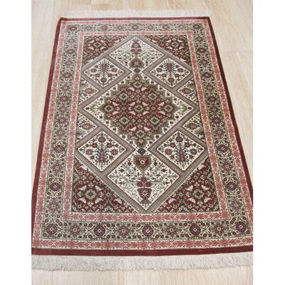 Qum Hand-Knotted Beige/Red Area Rug